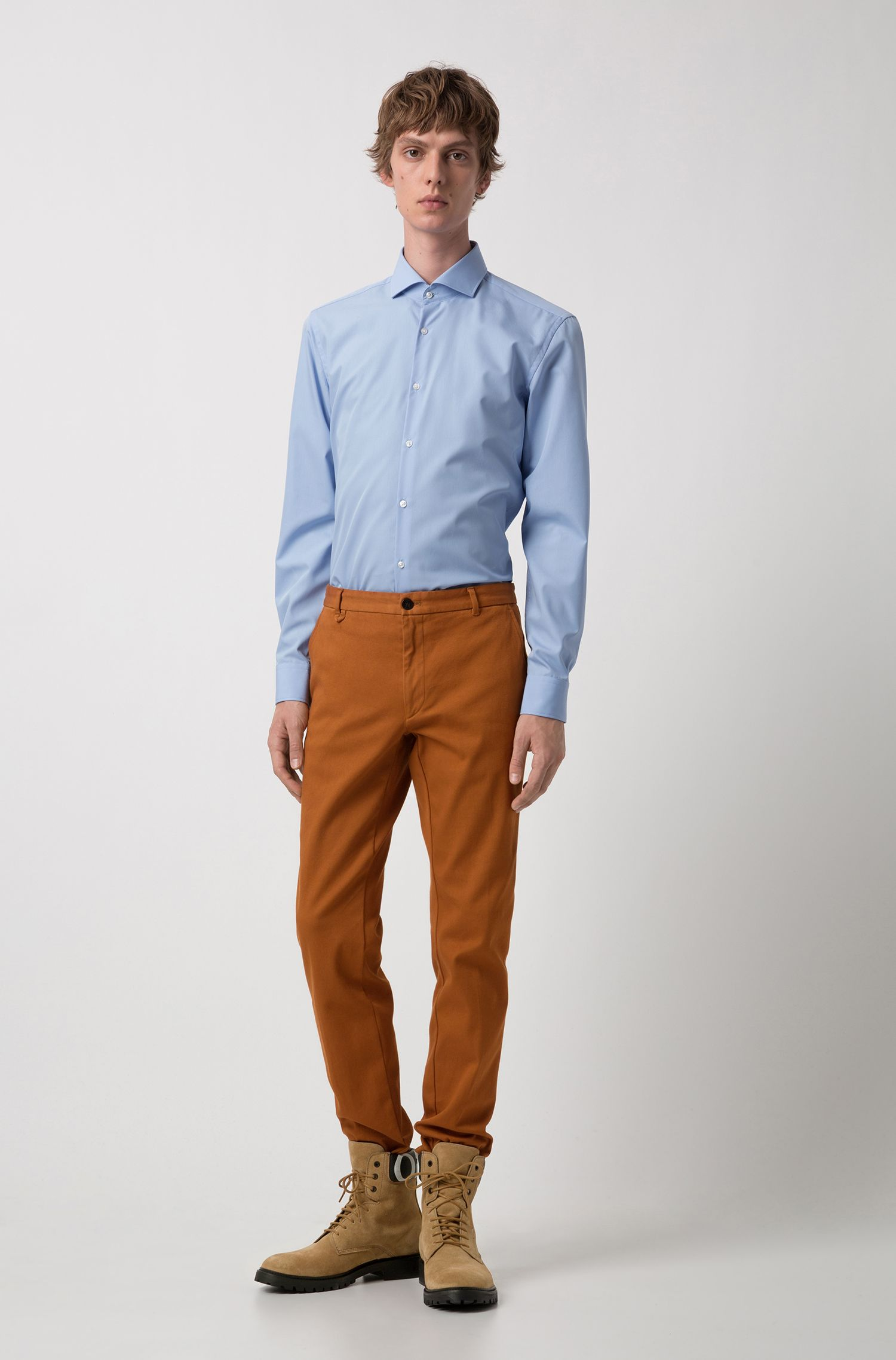 Slim-fit shirt in cotton with extra-long sleeves, Light Blue