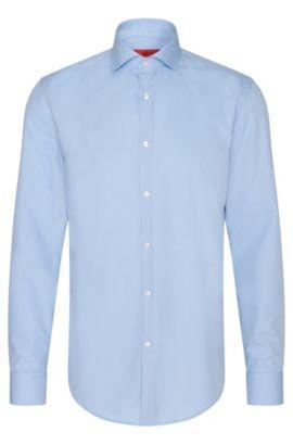 Effen slim-fit overhemd van katoen: 'C-Jason', Lichtblauw