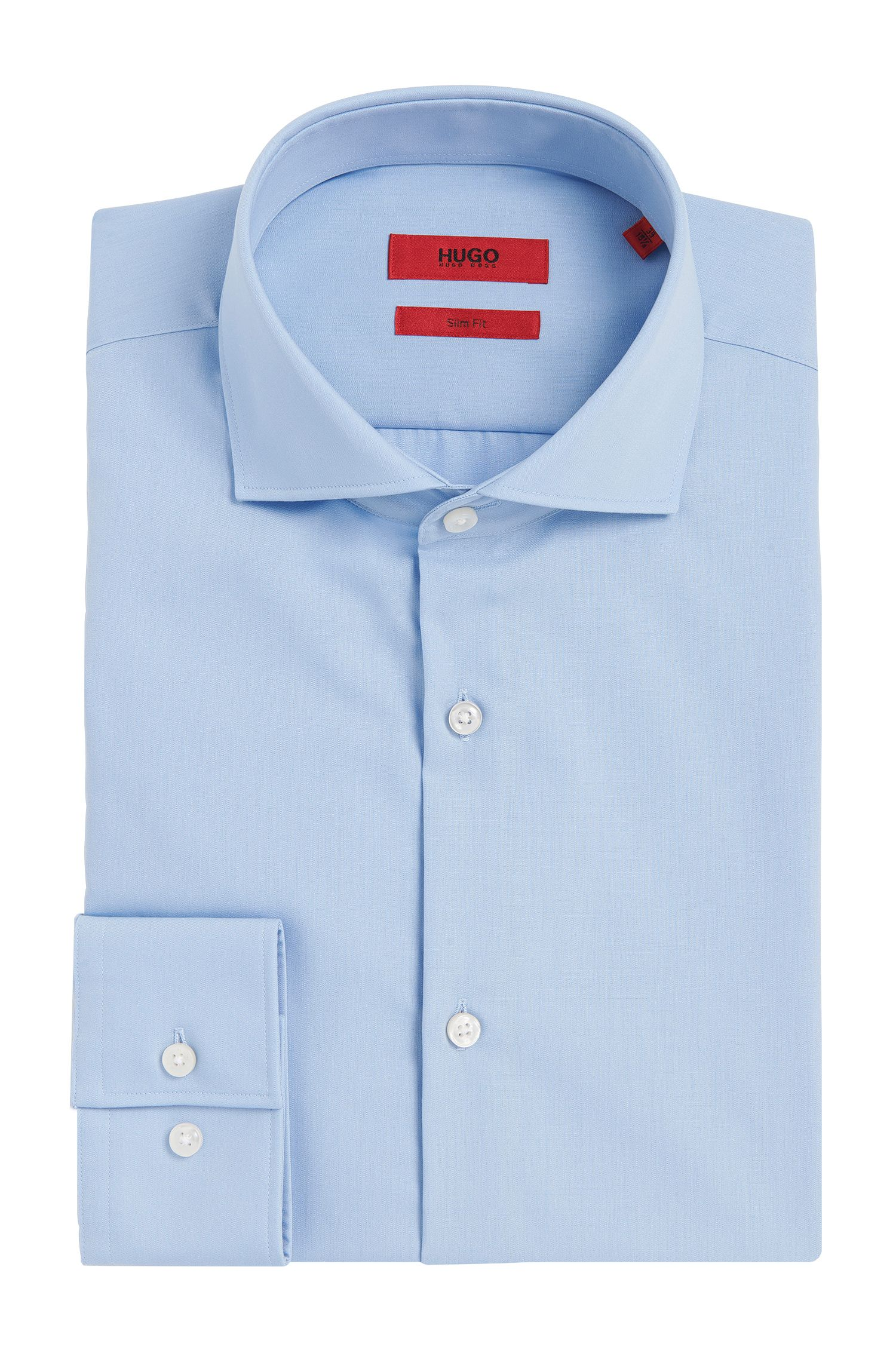 Slim-fit shirt in cotton with extra-long sleeves