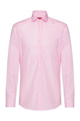 Slim-Fit Hemd aus Baumwolle mit Ärmeln mit Überlänge, Hellrosa