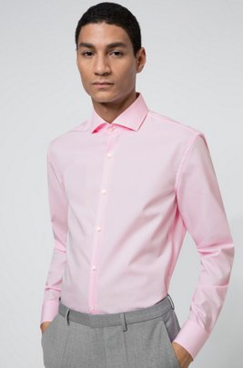 Slim-fit shirt in cotton with spread collar, light pink
