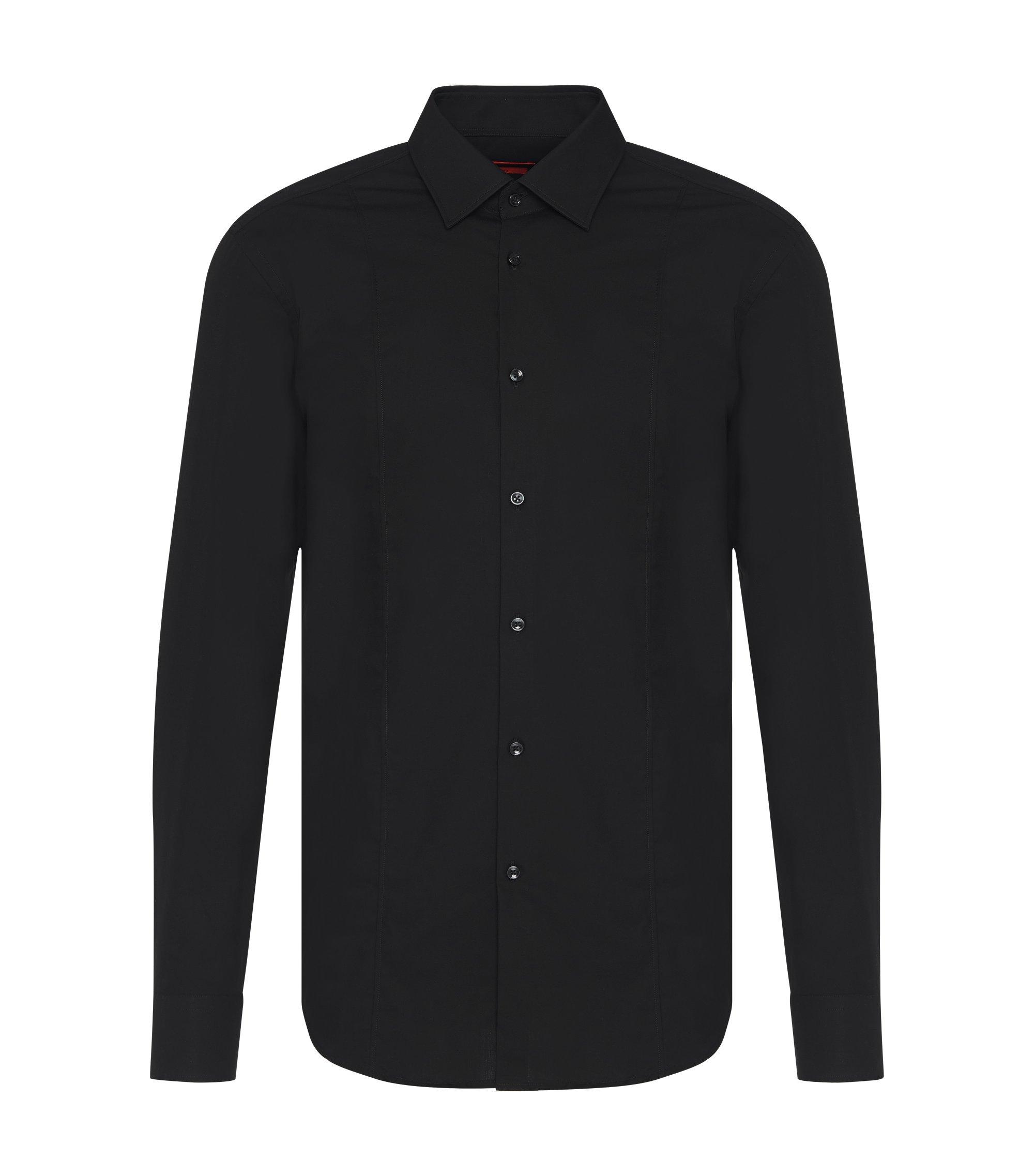 Chemise Slim Fit en coton ornée d'une couture, Noir