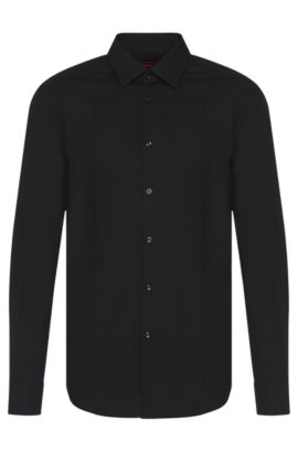 Slim-fit cotton shirt with seam detail , Black