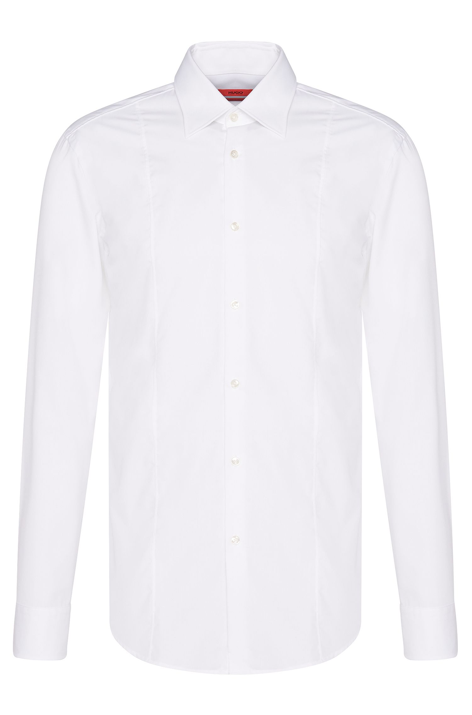 Camisa slim fit de algodón con detalle de costura