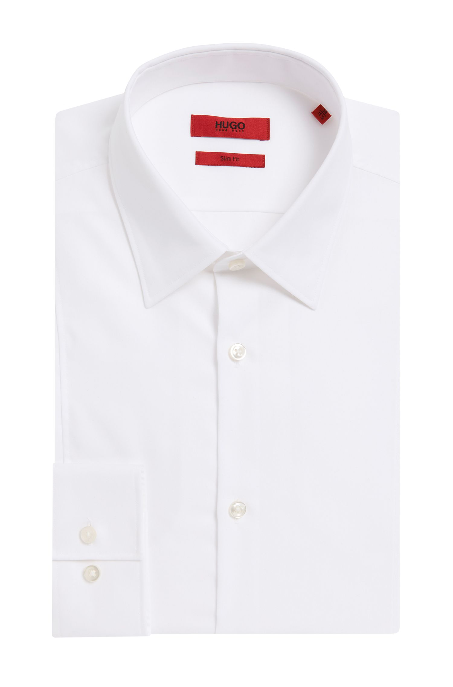 Slim-fit cotton shirt with seam detail , White