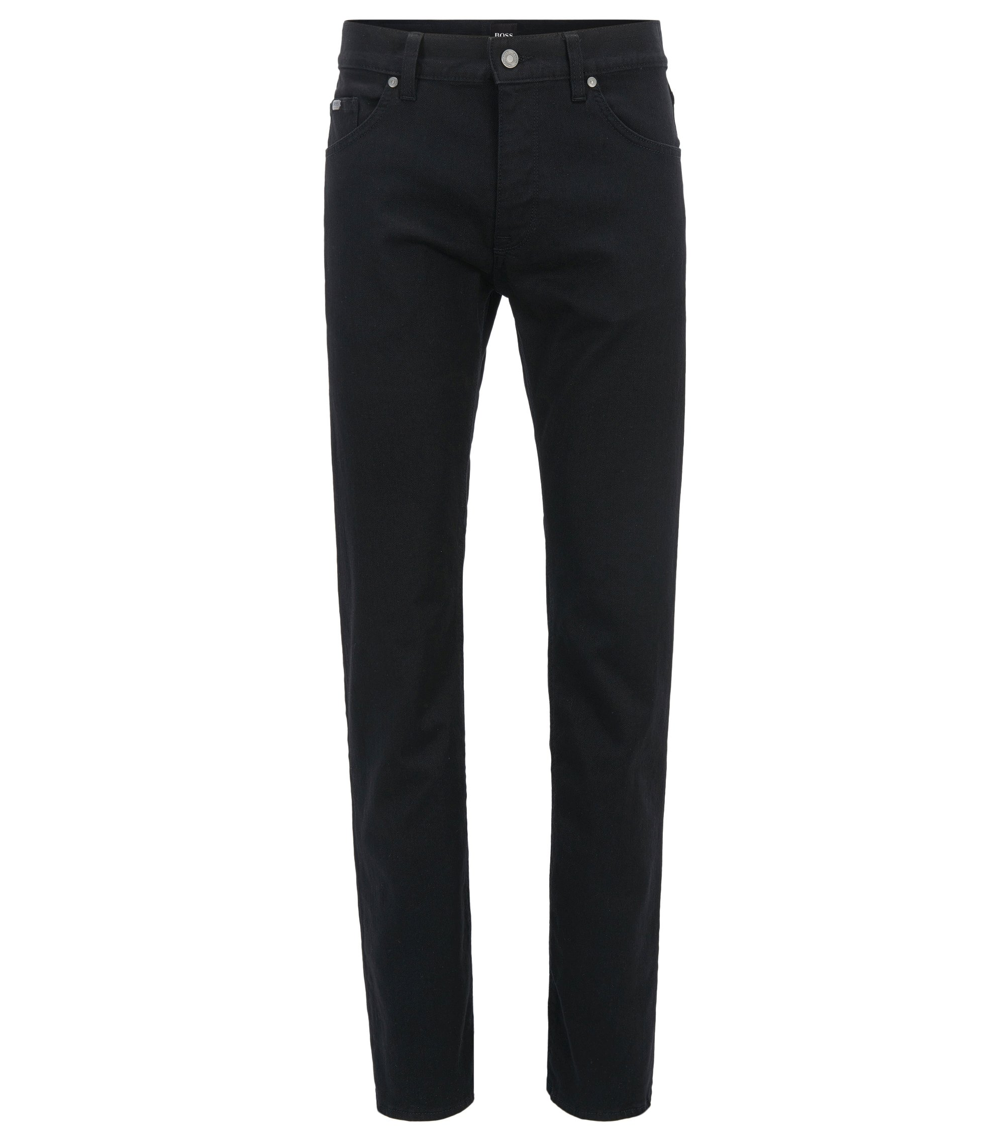 Jeans Regular Fit en coton mélangé extensible : « C-Maine1 », Noir