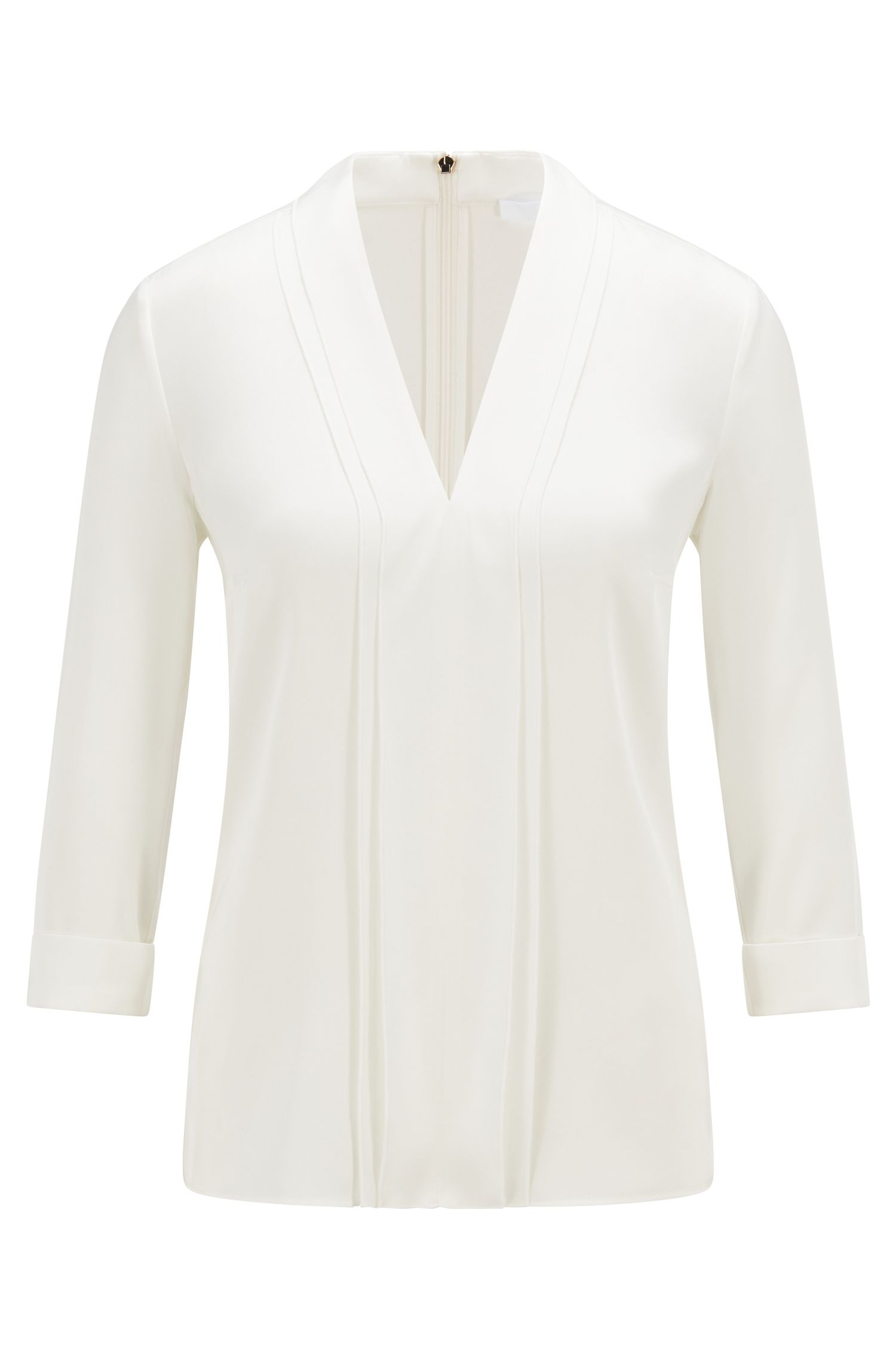 V-neck top in silk crepe with stretch, Natural