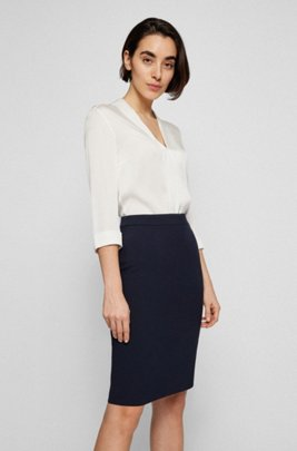 V-neck top in stretch-silk crepe de Chine, White