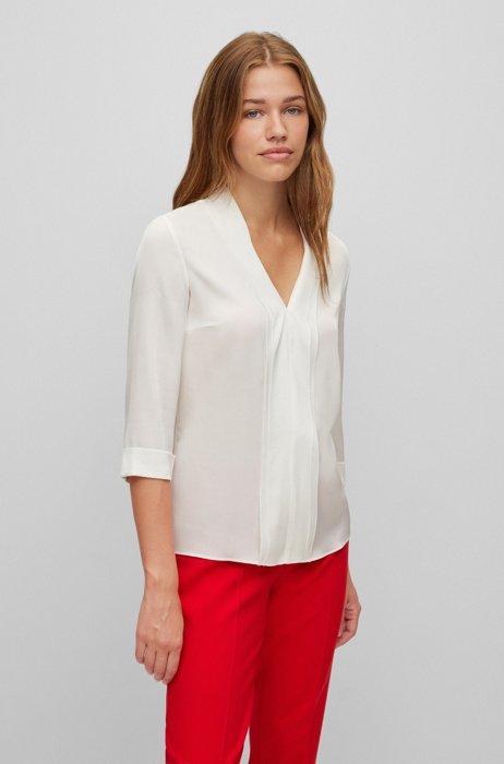 V-neck top in stretch-silk crepe de Chine, White