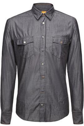 Slim-Fit Freizeithemd ´EdaslimE` aus Baumwolle, Schwarz