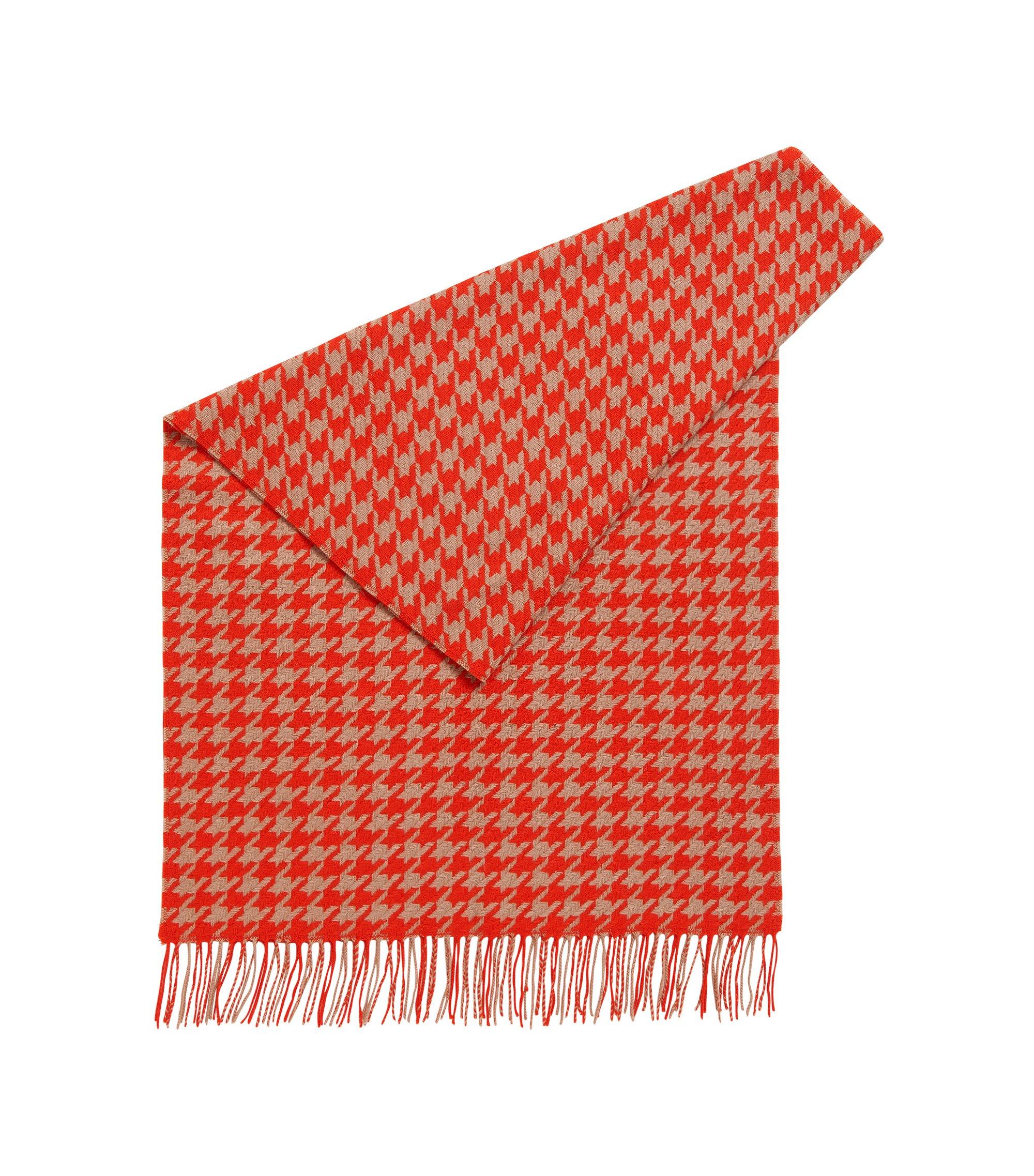 Sciarpa in lana vergine con motivo pied de poule , A disegni