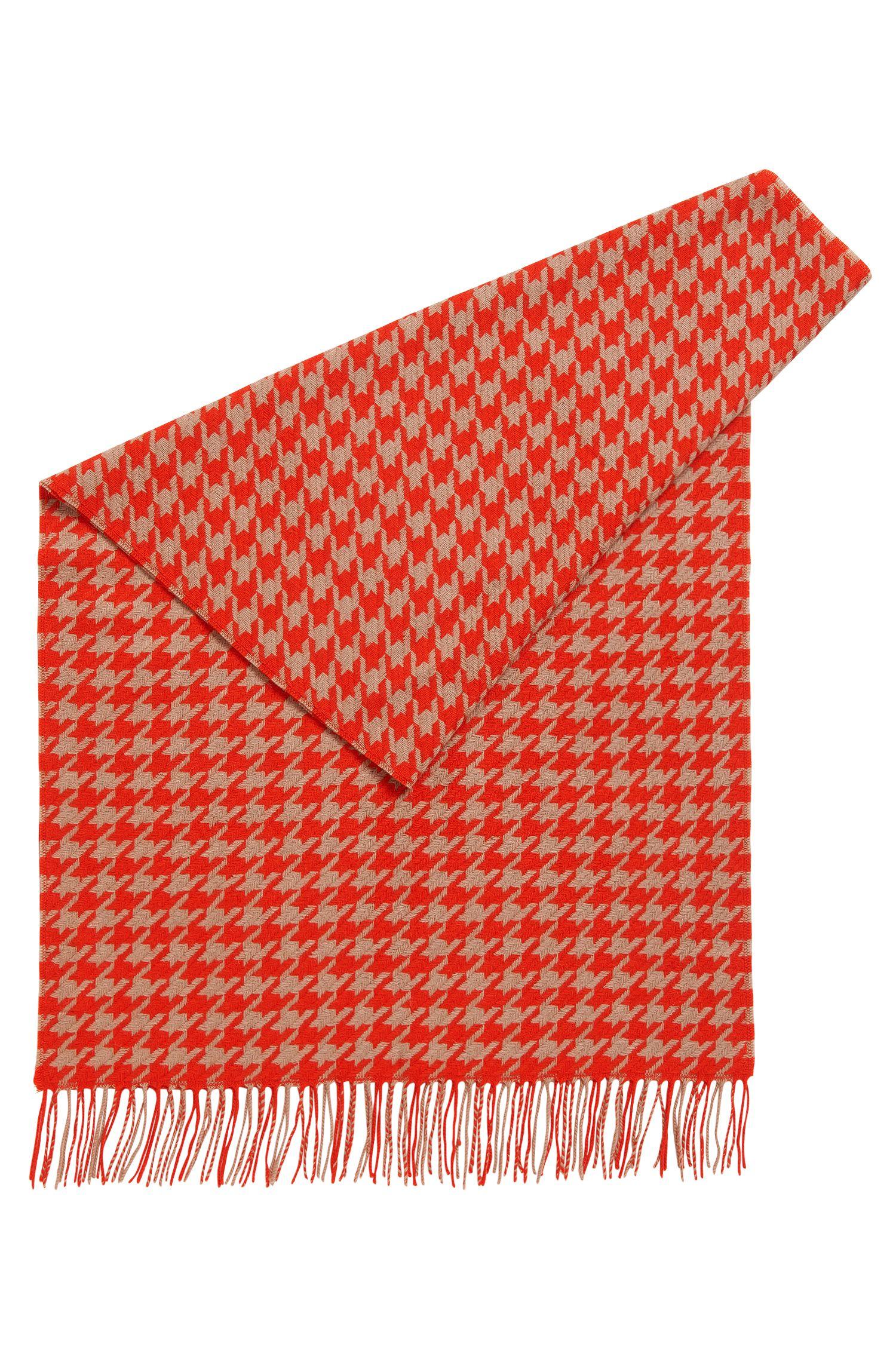 Sciarpa in lana vergine con motivo pied de poule