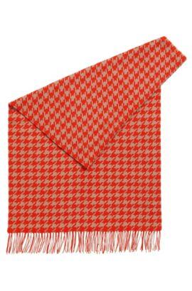 Schurwoll-Schal mit Hahnentritt-Muster  , Gemustert