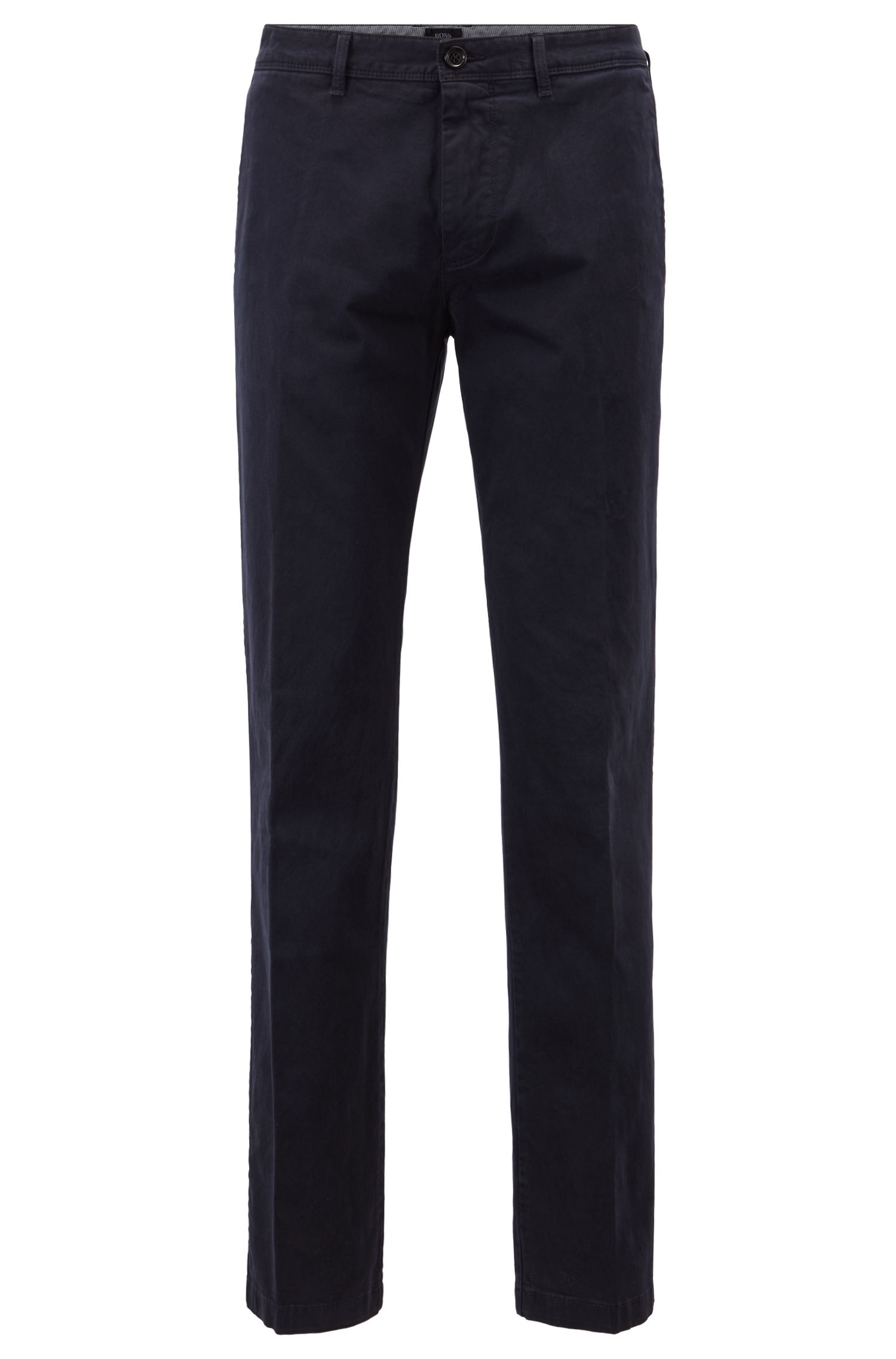 Flat-fronted trousers in stretch-cotton gabardine, Dark Blue