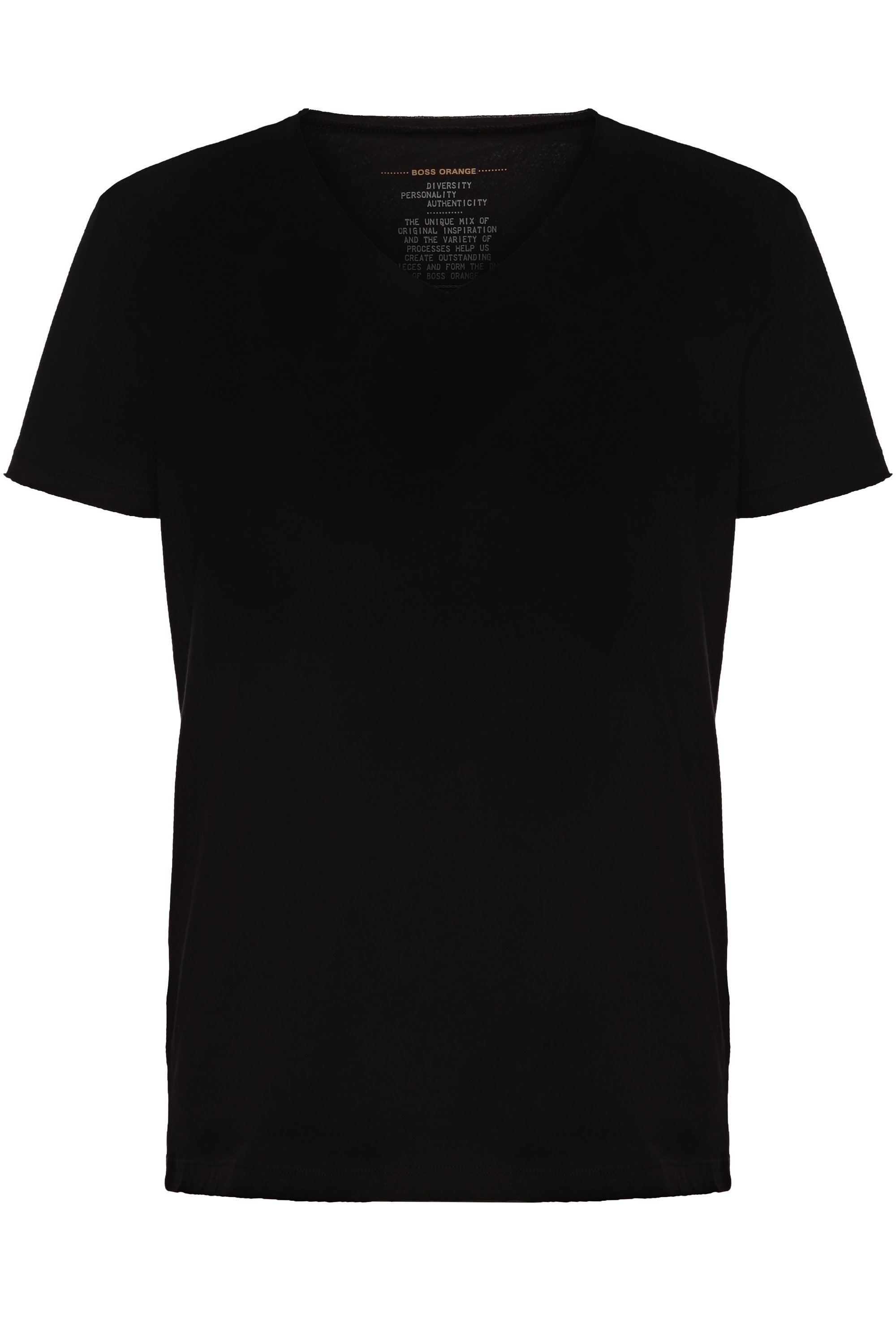 Regular-fit T-shirt with raw-cut V neck , Black