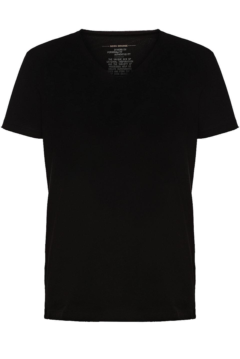 Boss Regular Fit T Shirt Mit Offenkantigem V Ausschnitt