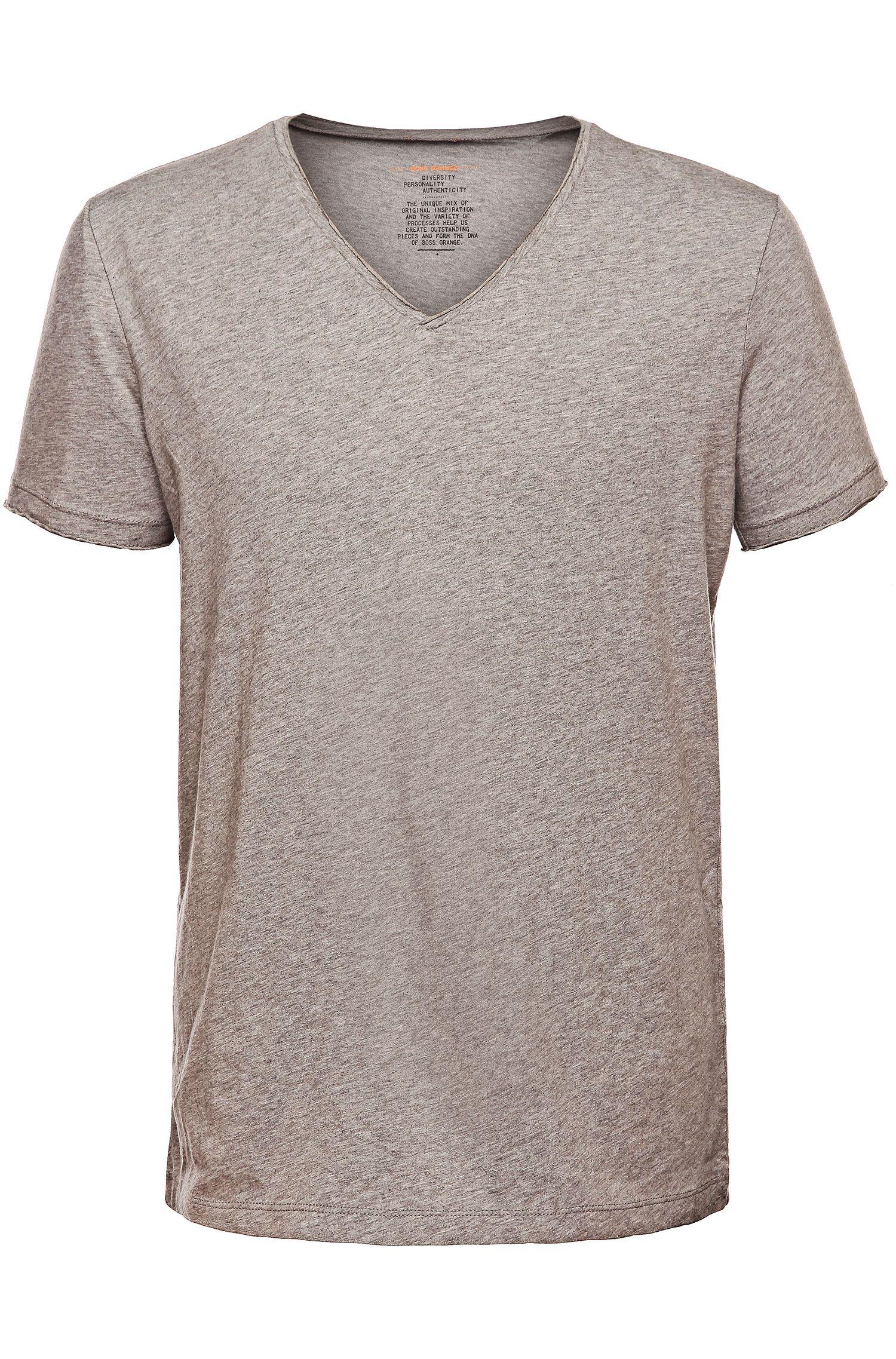 Regular-fit T-shirt met ruwe V-hals