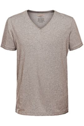Regular-fit T-shirt with raw-cut V neck , Light Grey