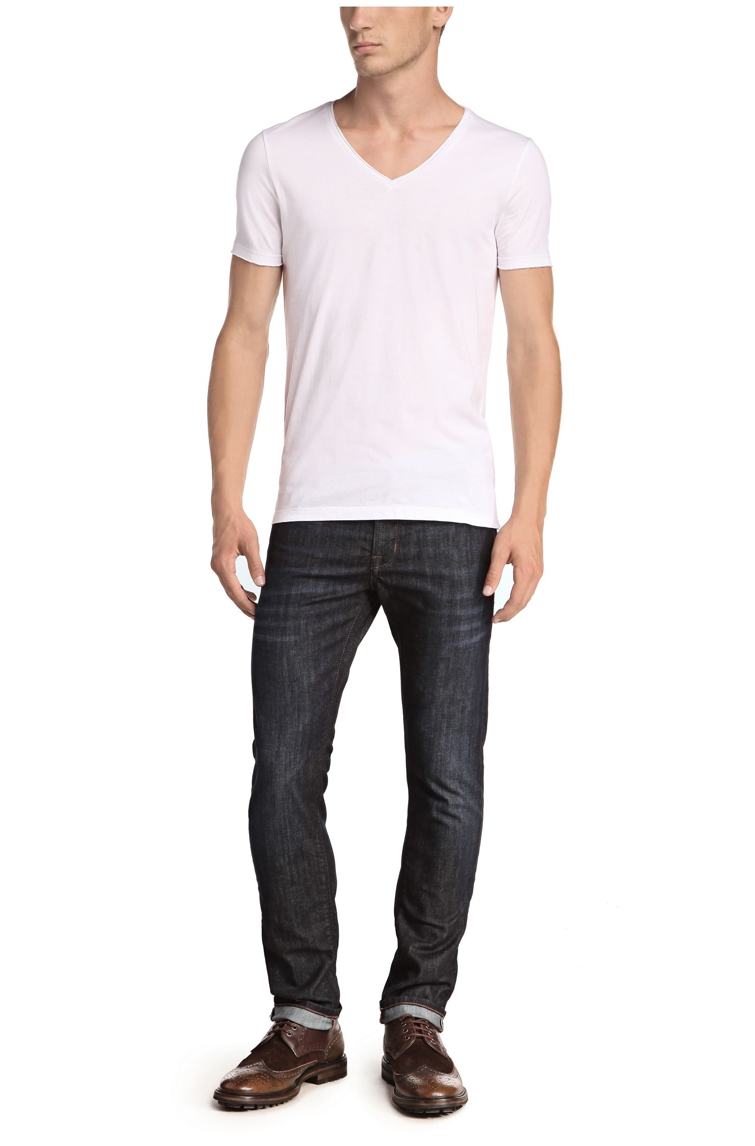 Regular-fit T-shirt with raw-cut V neck , White