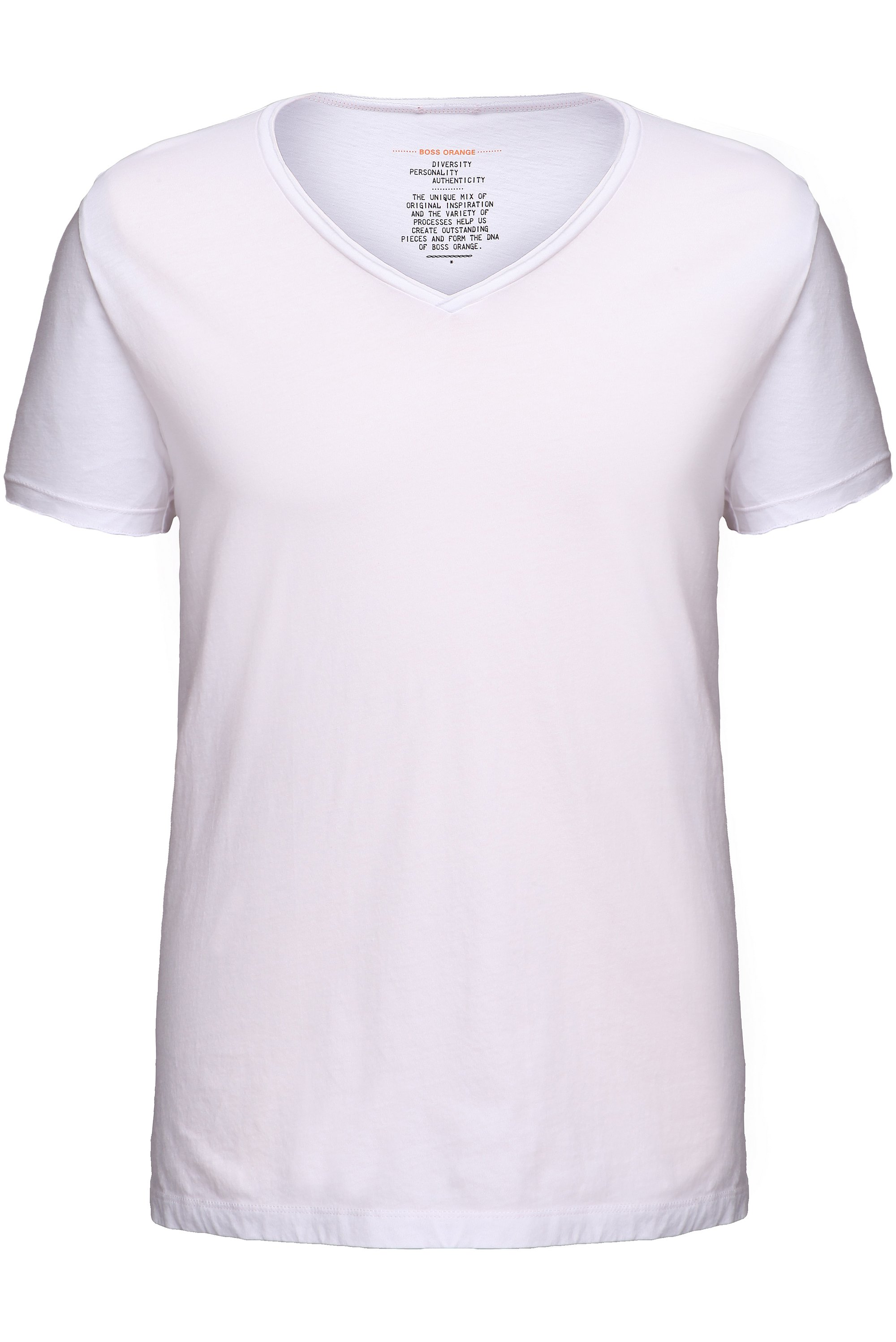 Camiseta regular fit con escote en pico con bordes sin cerrar , Blanco