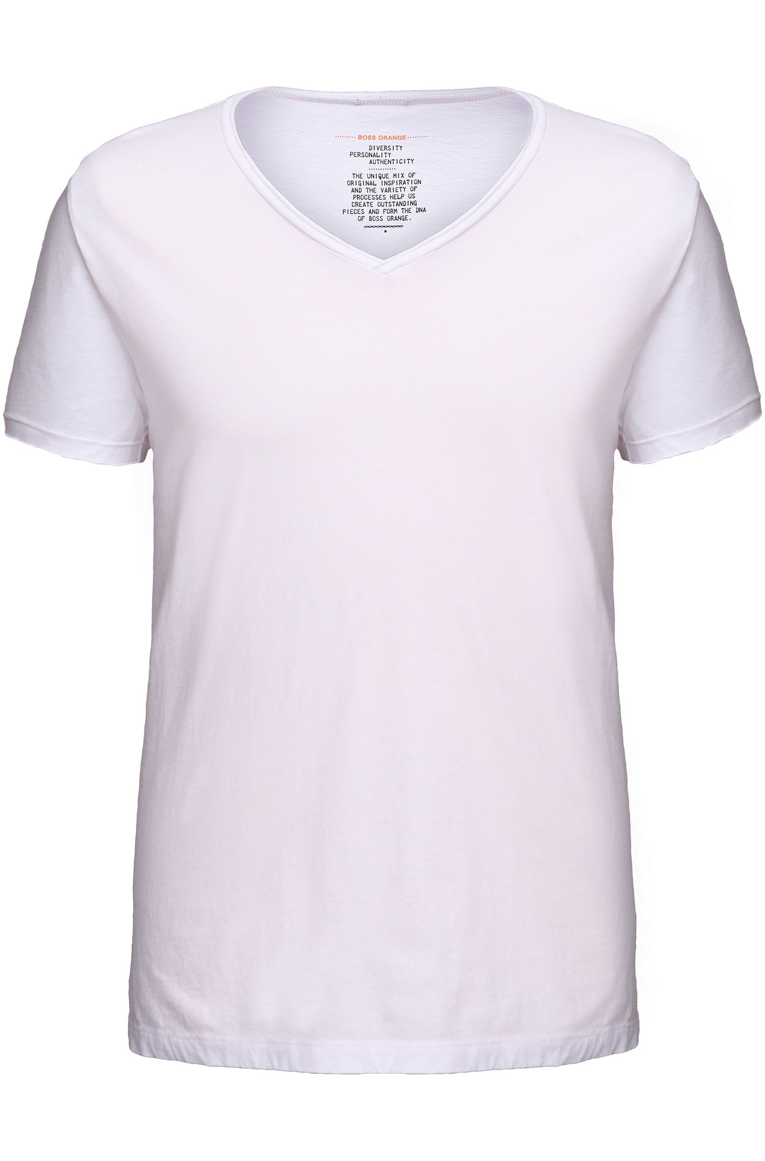 Regular-fit T-shirt met ruwe V-hals , Wit