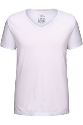T-shirt Regular Fit, avec col V à bord franc, Blanc