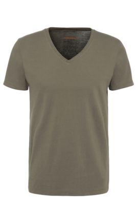 Regular-Fit T-Shirt mit offenkantigem V-Ausschnitt , Dunkelgrün