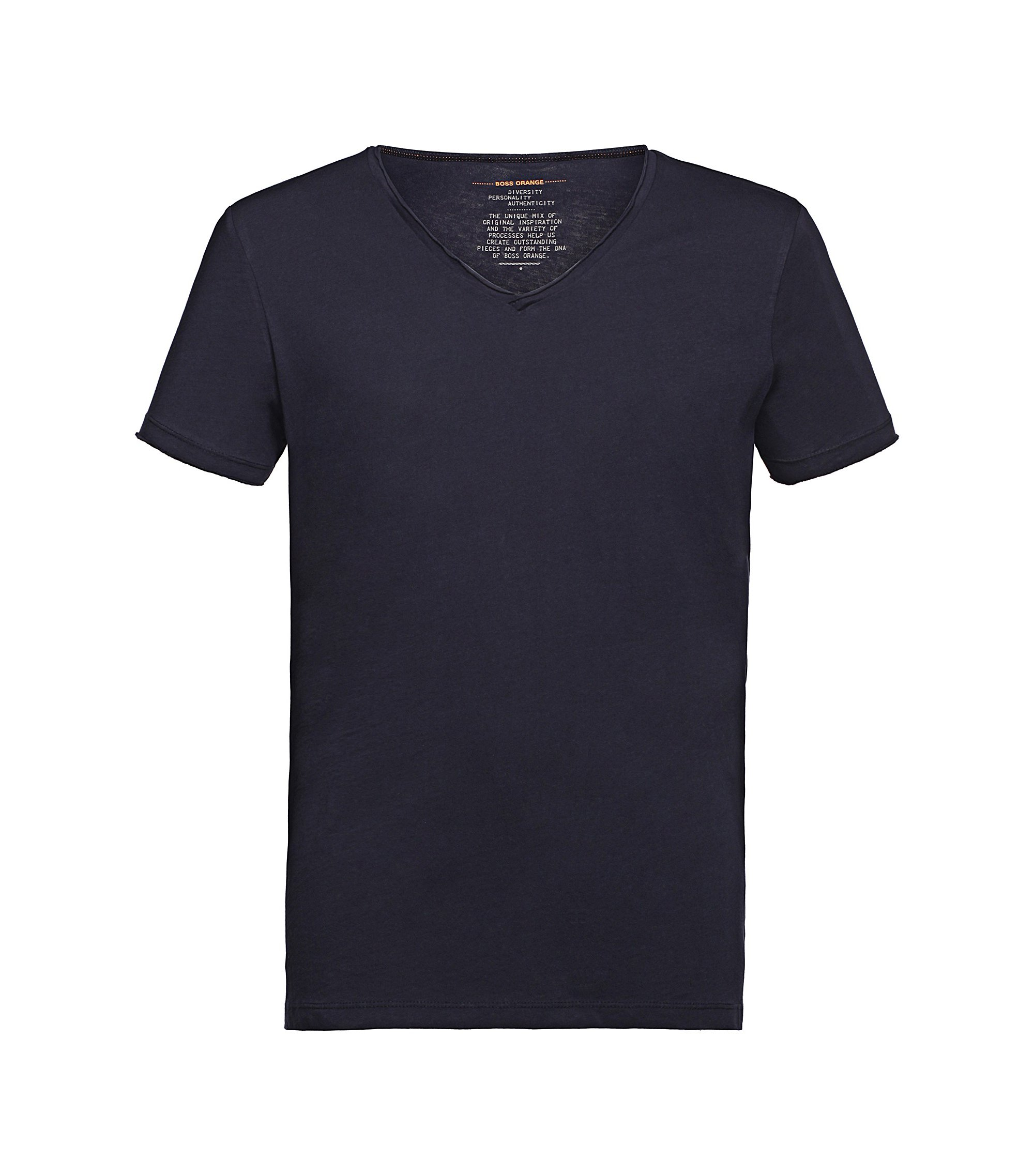 Regular-fit T-shirt with raw-cut V neck , Dark Blue