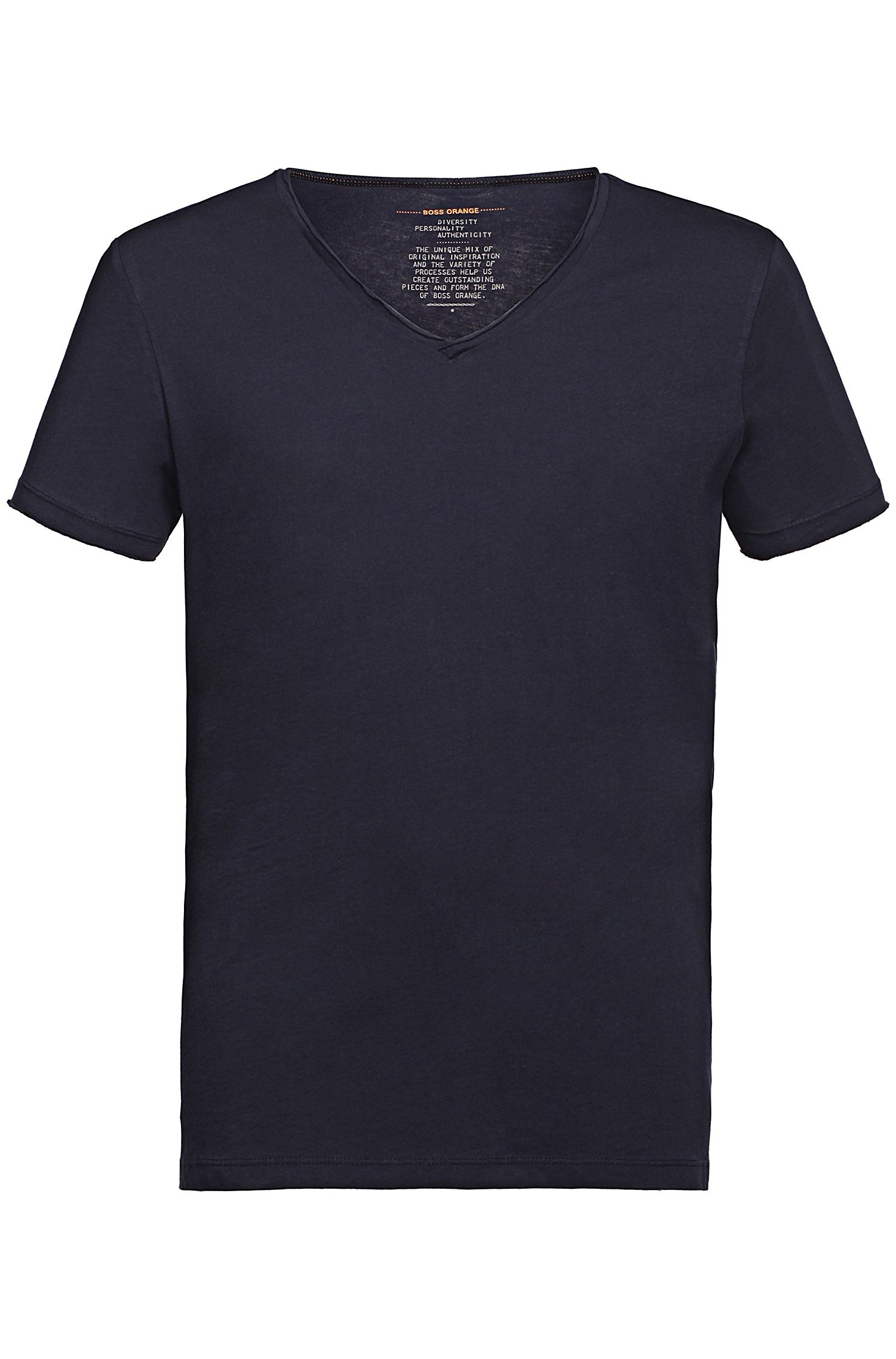 Regular-fit T-shirt met ruwe V-hals , Donkerblauw