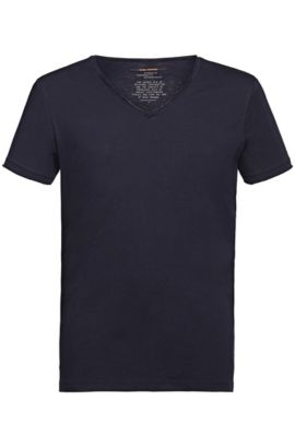 T-shirt regular fit con scollo a V a taglio vivo , Blu scuro