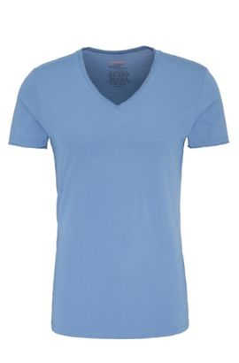 Regular-fit T-shirt with raw-cut V neck , Open Blue