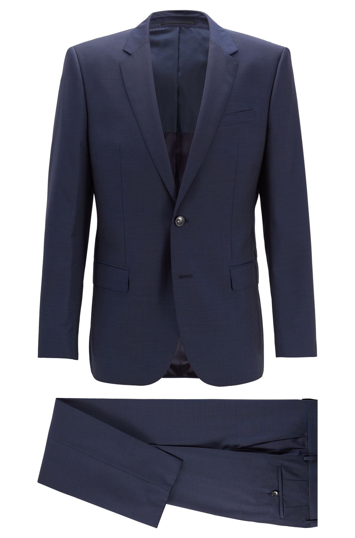 Costume Slim Fit en laine vierge à motif, Bleu foncé