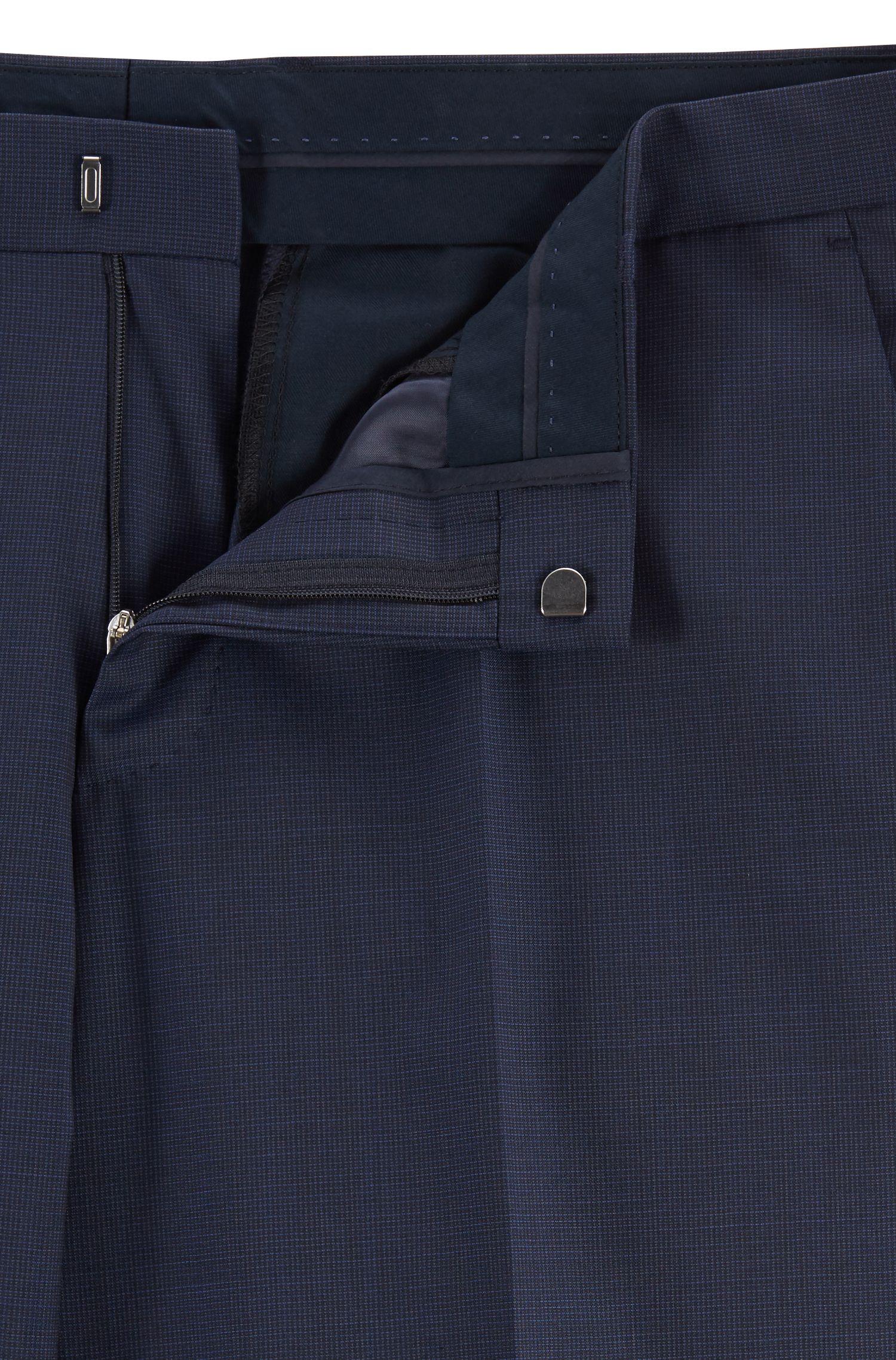 Slim-fit kostuum van scheerwol met dessin, Donkerblauw