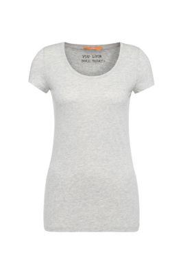 Slim-fit T-shirt in een zachte jersey van een katoenmix, Grijs
