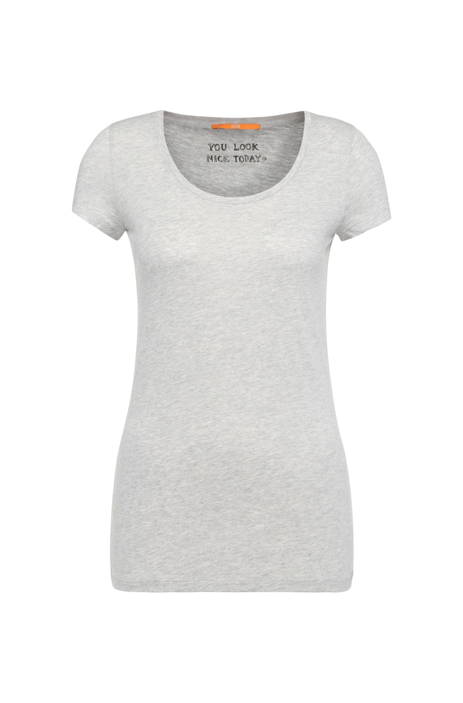 Camiseta slim fit en punto de mezcla de algodón cepillado