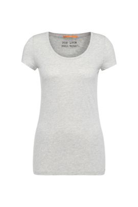 Slim-fit T-shirt in peached cotton-blend jersey, Grey