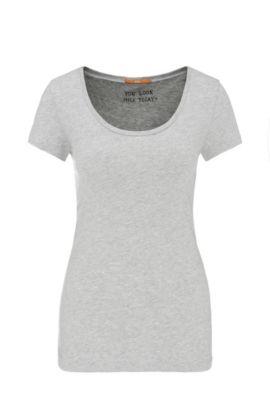 Camiseta slim fit en punto de mezcla de algodón cepillado, Gris