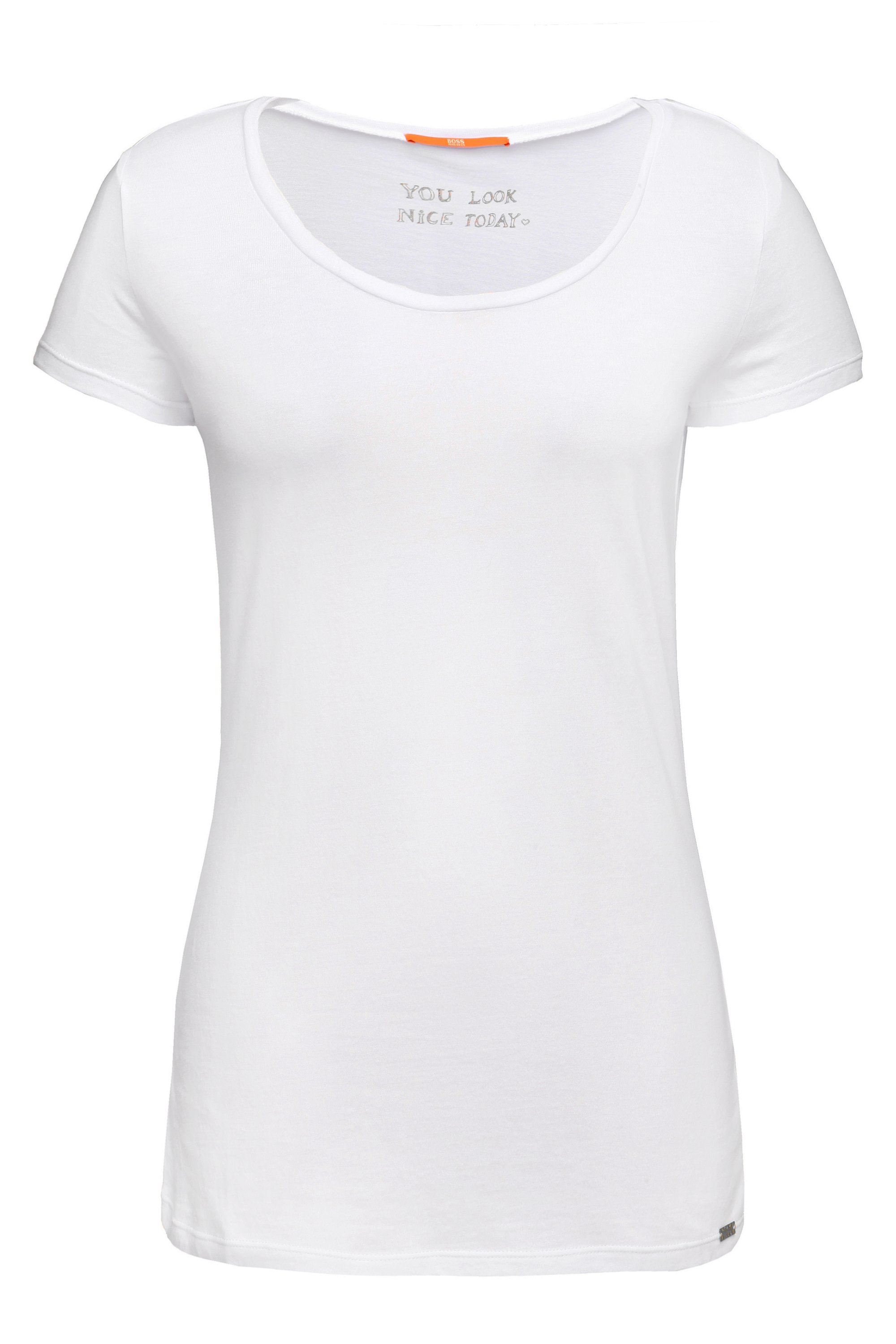 Slim-fit T-shirt in peached cotton-blend jersey, White
