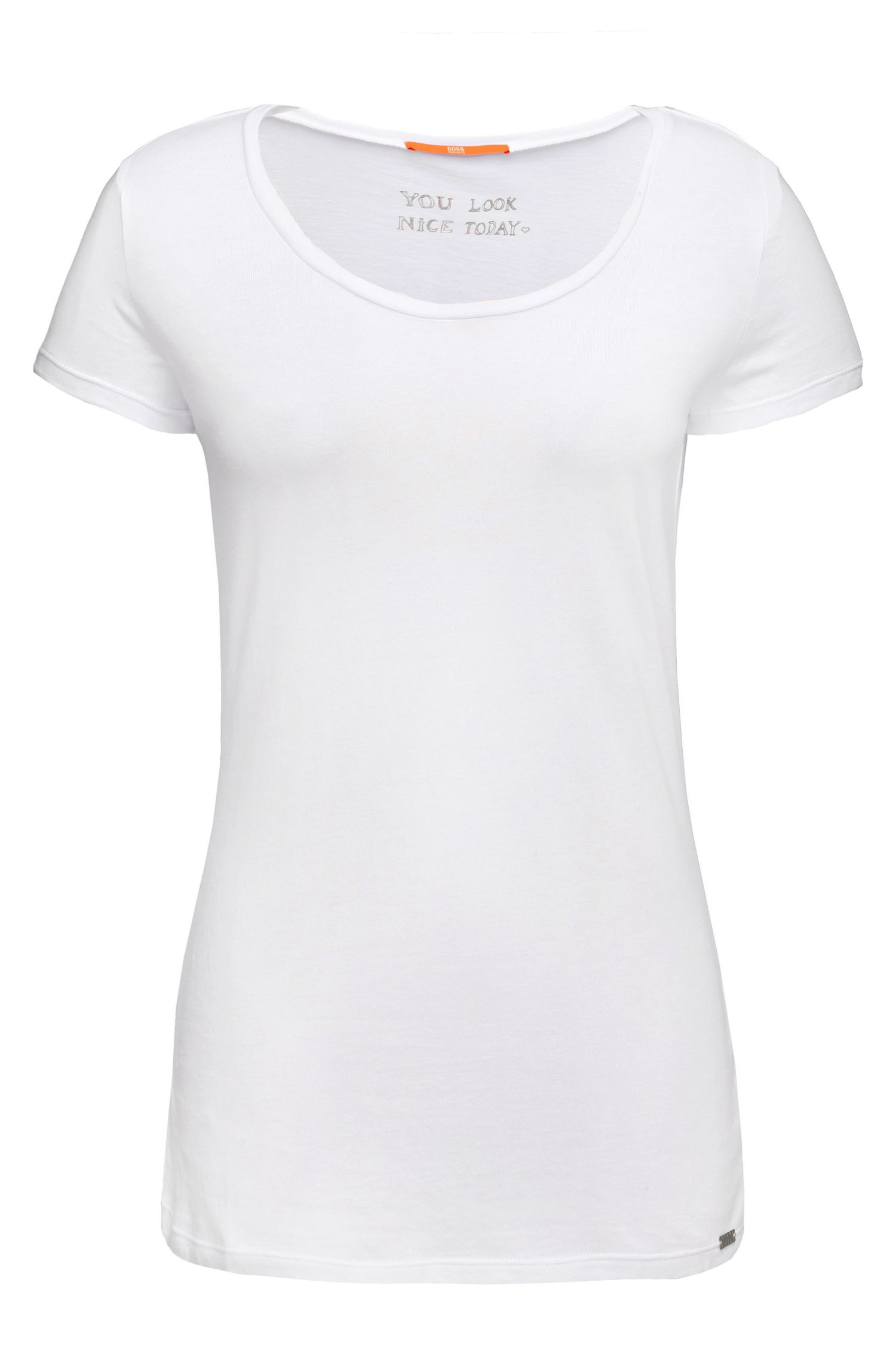 Slim-Fit T-Shirt aus angerautem Baumwoll-Mix mit Modal