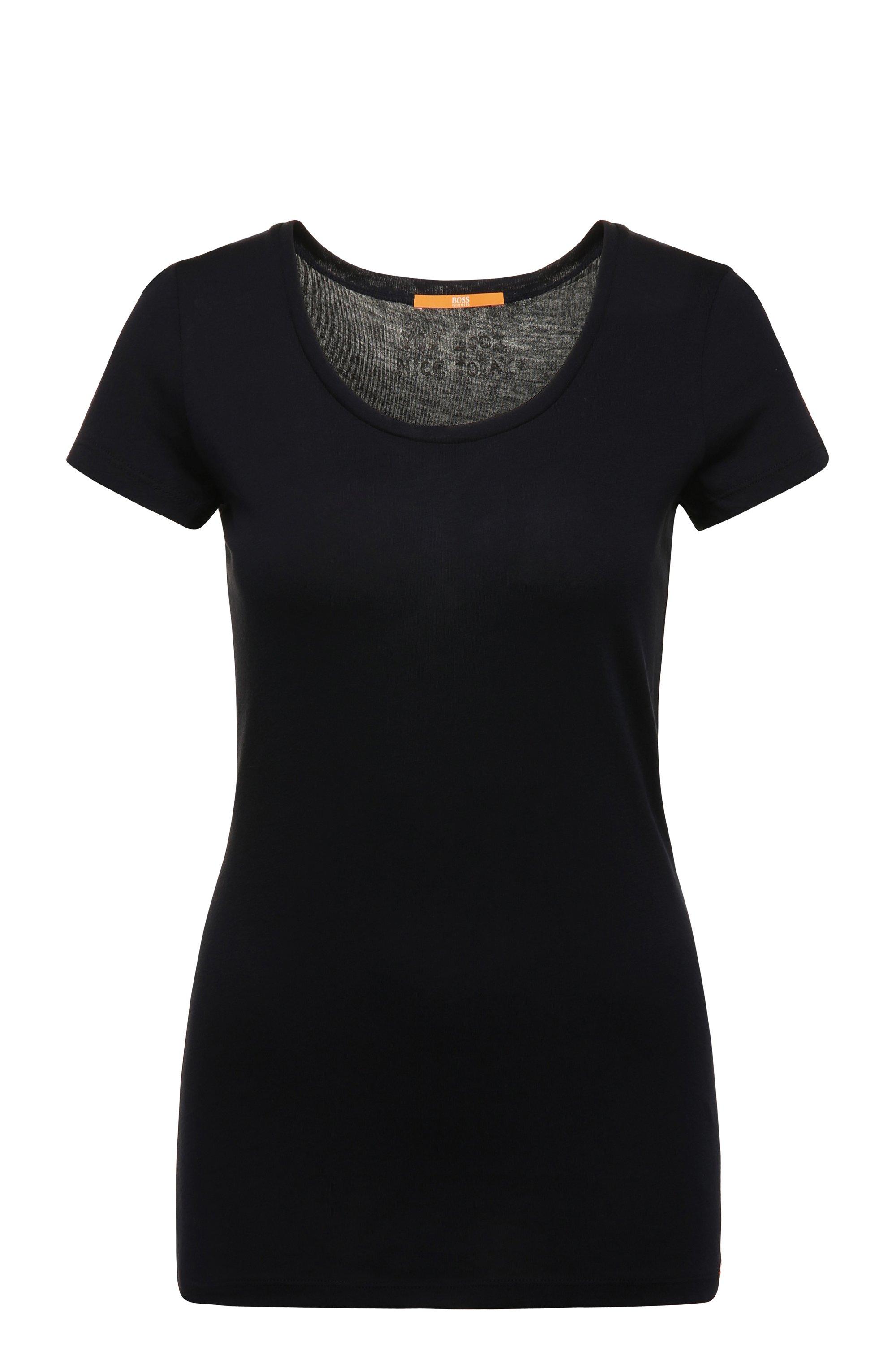 Slim-fit T-shirt in peached cotton-blend jersey, Dark Blue