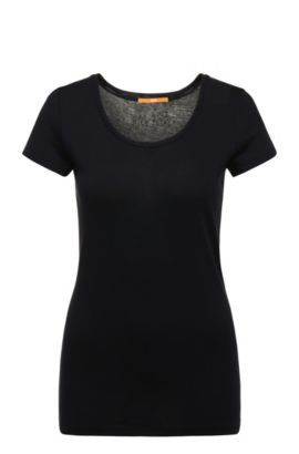 Slim-fit T-shirt in peached cotton-blend jersey, Dark Blue