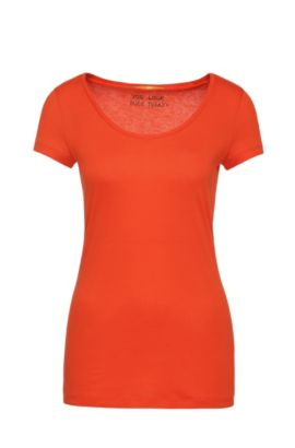 Slim-fit T-shirt in peached cotton-blend jersey, Red