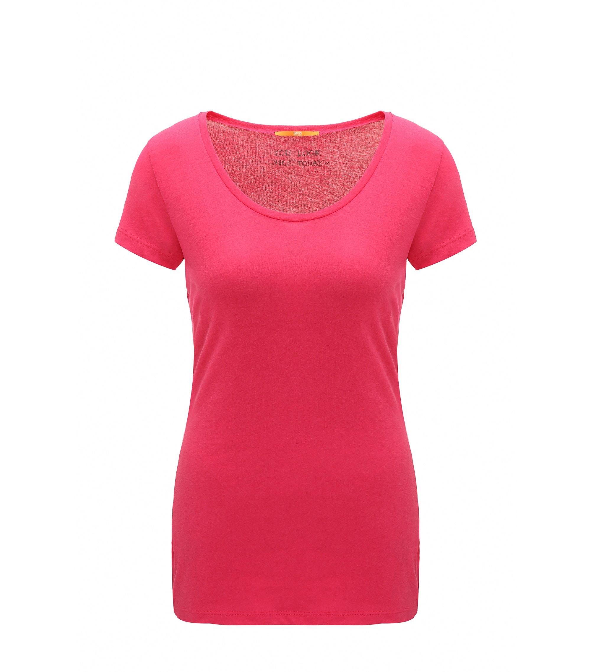 T-shirt Slim Fit en jersey de coton mélangé toucher peau de pêche, Rose