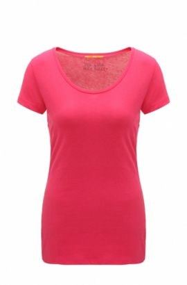 T-shirt slim fit in jersey di misto cotone manopesca, Rosa