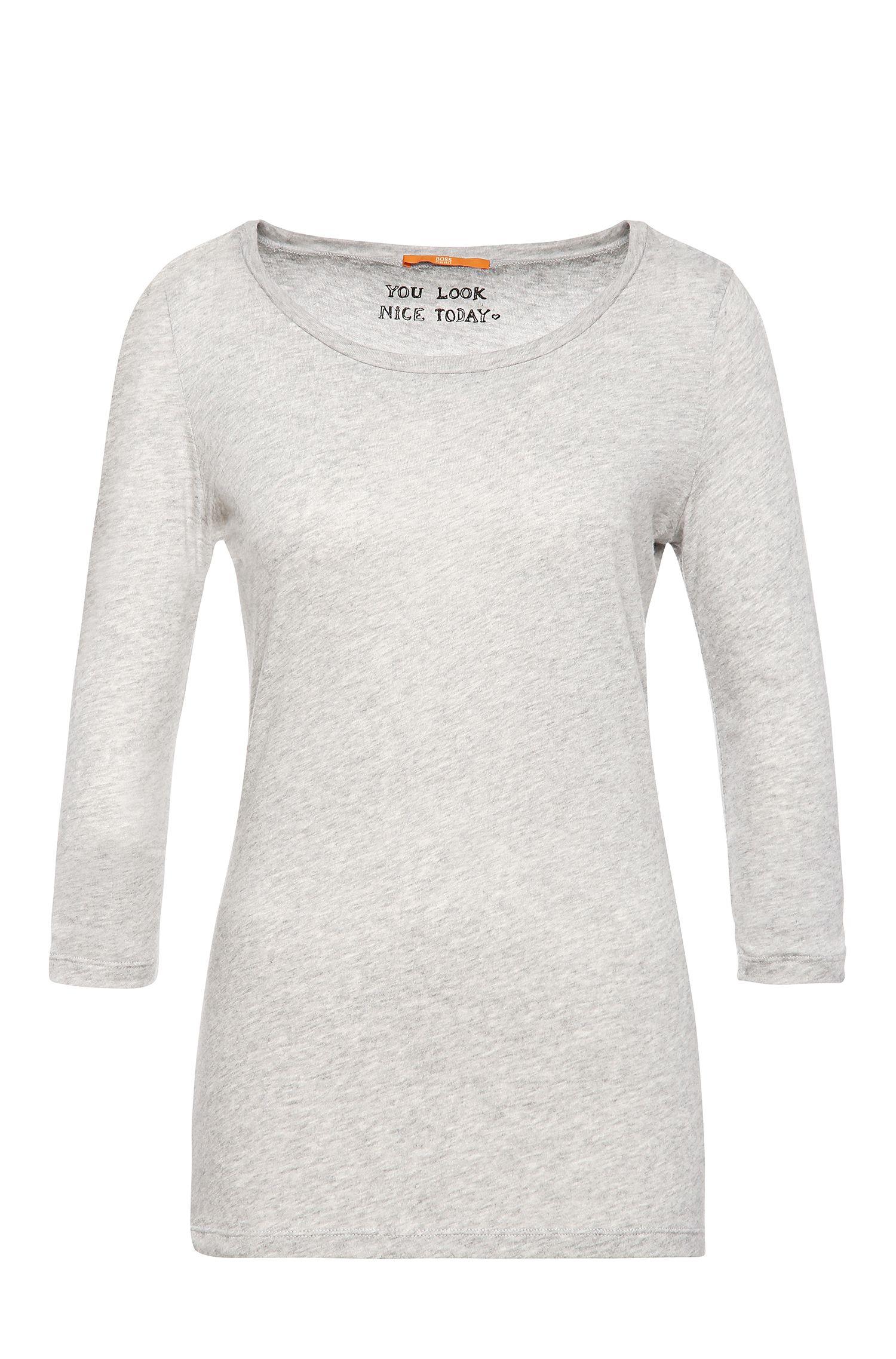 Camiseta slim fit con mangas 3/4 en mezcla de algodón
