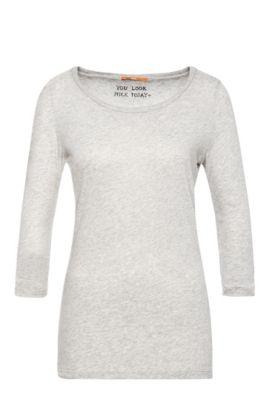 Camiseta slim fit con mangas 3/4 en mezcla de algodón, Gris