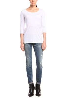 Slim-Fit Shirt mit 3/4 Ärmeln aus Baumwoll-Gemisch, Weiß