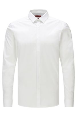 Extra-slim-fit shirt in stretch cotton , Open White
