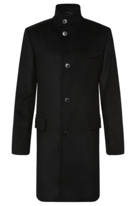 Regular-fit coat in new-wool blend with cashmere: 'C-Sintrax', Black