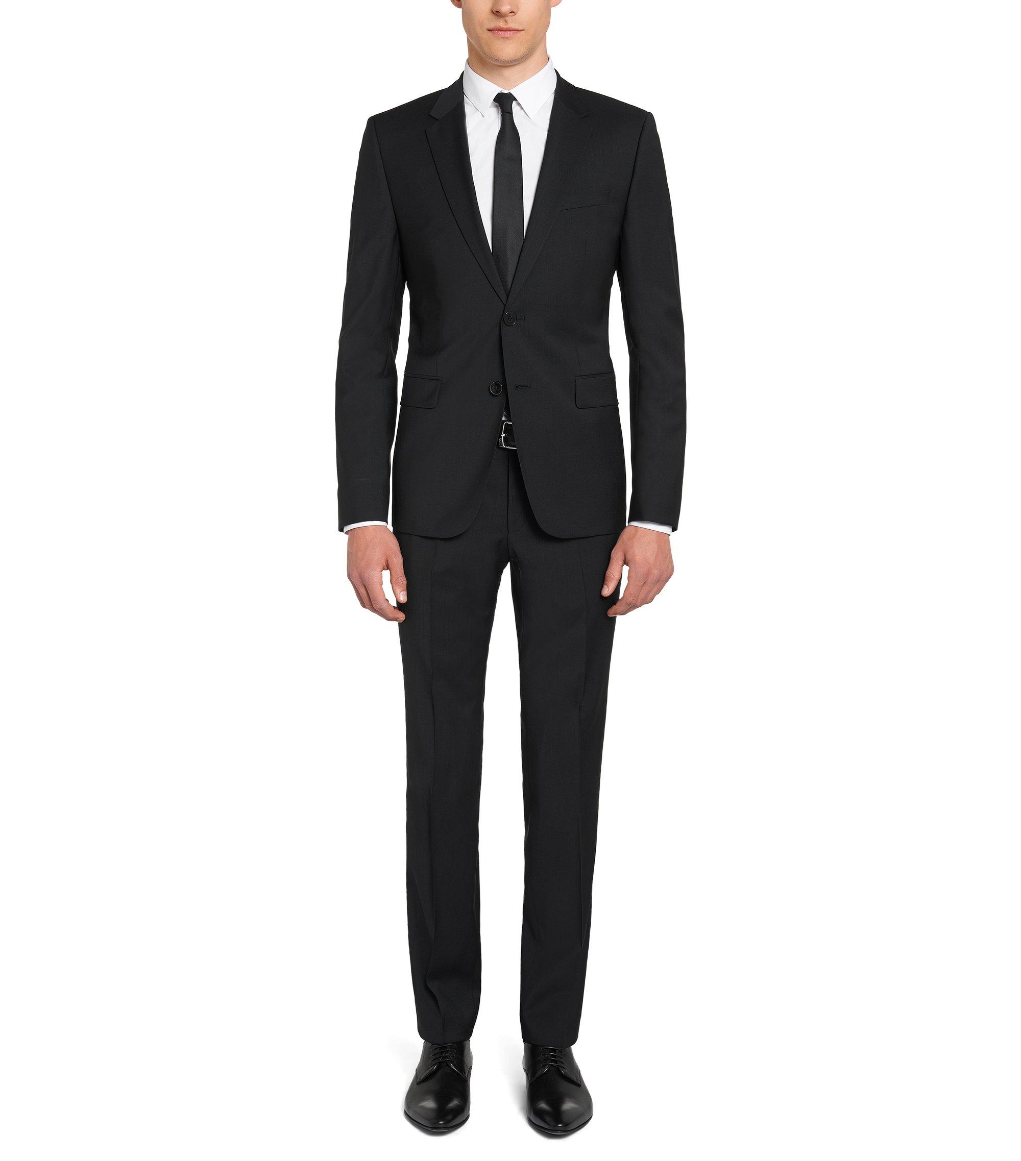Slim-leg trousers in virgin wool by HUGO Man , Black